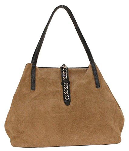 Damen Handtasche, GLORIA, Kette, Echt Leder, bag in bag, Henkeltasche, Wildleder, Veloursleder (Dunkelsand)