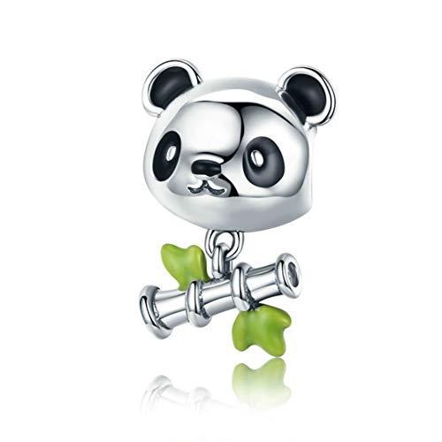 Hsuming sorriso panda bamboo animal world cz gioielli in argento sterling 925 con perline fascino adatto braccialetto europeo di fascino