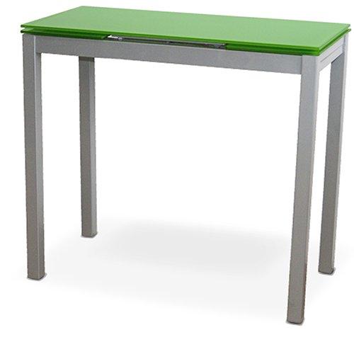 LIQUIDATODO ® - Mesa de cocina extensible con sobre de vidrio verde, plateado moderna y barata