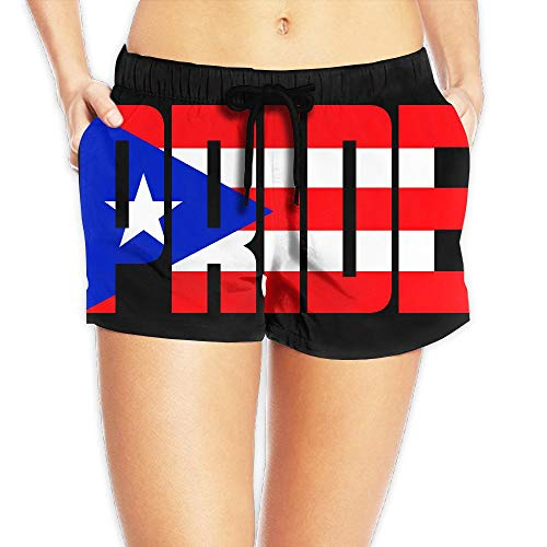 WTZYXS Summer Puerto Rico Pride Flag Leisure Boardshorts Bathing Suits Sexy Hot Swimming Trunks Beach Shorts X-Large -