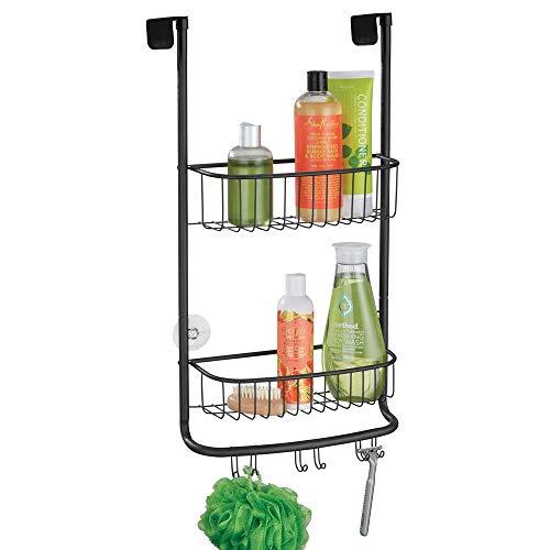 mDesign Duschablage zum Hängen über die Duschtür - praktisches Duschregal ohne Bohren - mit Saugnäpfen - Duschkorb zum Hängen aus Metall für sämtliches Duschzubehör - mattschwarz -