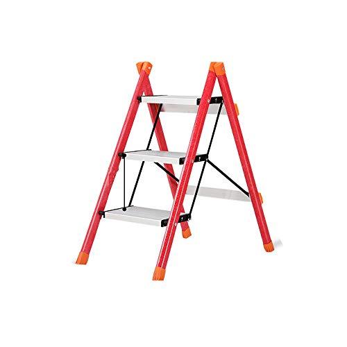 DS Tritthocker Trittleiter Multifunktions-Haushalts-Klappleiter Aluminiumlegierung Glas Stahlleiter Dreistufige Leiter ** (Color : Red)