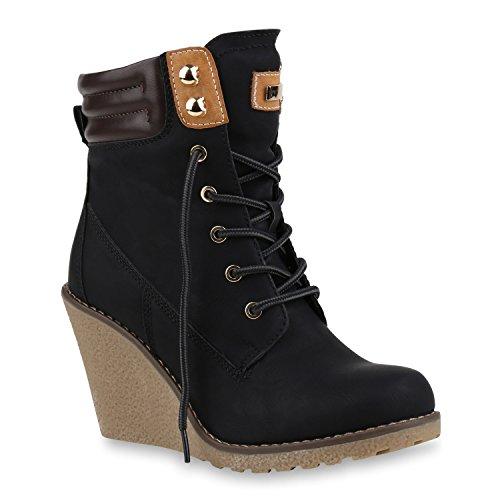 Damen Keilstiefeletten Schnür Stiefeletten Profilsohle Schuhe 144613 Schwarz Berkley 40 Flandell