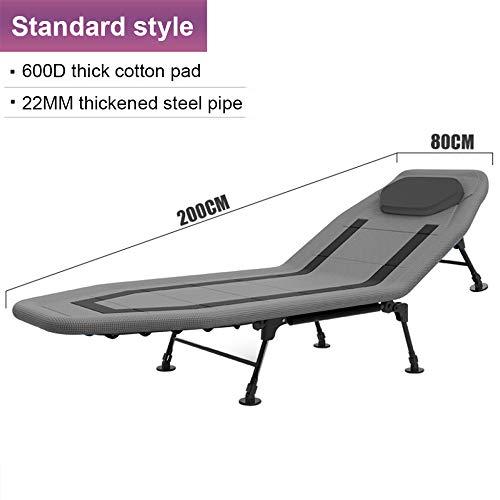 Standard-klappbett (LINGJIE Strandkorb Klappbetttücher Menschen Mittagessen Bett Siesta Multifunktionslager Büro Einfache Erwachsenenliege,Grey-Standard)