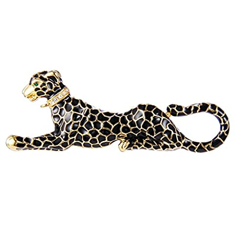 EVER FAITH® Gold-Tone Austrian Crystal Black Enamel Sitting Leopard Animal Brooch Clear N07764-1