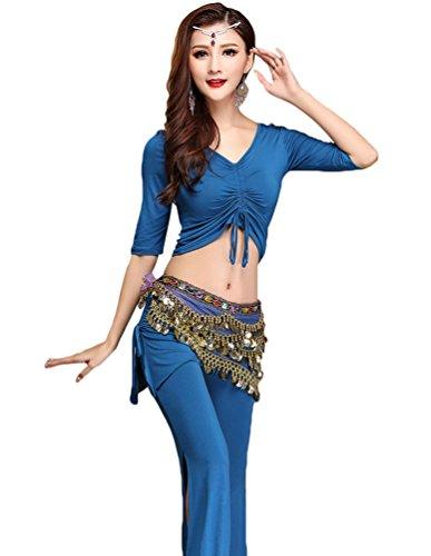 YiJee Damen Tanzkleidung Bauchtanz -Kostüm-Set Tops & Split Wide-leg Pants Blau XL