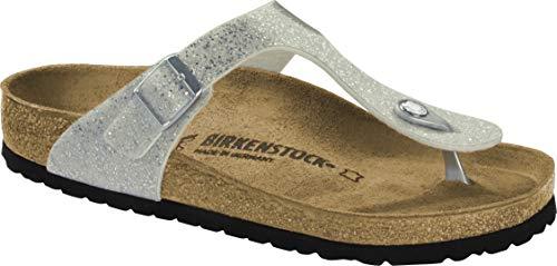 Birkenstock 1014396 Gizen Damen Pantolette aus Textil Korkfußbett normale Weite, Groesse 35, weiß/metallic