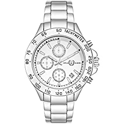 Spears & Walker Superdriver Men's Chronograph Watch White Bracelet in metal Silver Waterproof / Water-resistant 3 ATM 10070033