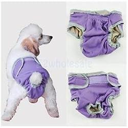 SLB Works Brand New Female Pet Dog Pant Bitch Season Menstrual Sanitary Nappy Diaper Purple XS
