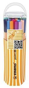 STABILO point 88 - Twin-Pack de 20 stylos-feutres pointe fine - Coloris assortis