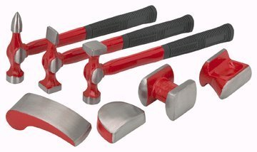 7 Piece Auto Body and Fender Set: bumping hammer, pick and finish hammer, reverse curve hammer, utility dolly, double end dolly, heel dolly, curve dolly by Pittsburgh (Hammer Dolly)