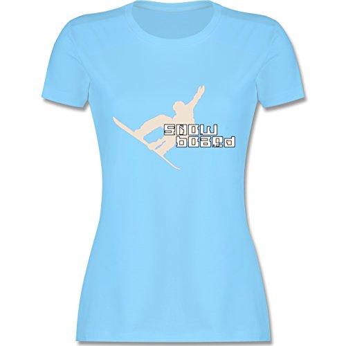 Wintersport - Snowboard - tailliertes Premium T-Shirt mit Rundhalsausschnitt für Damen Hellblau