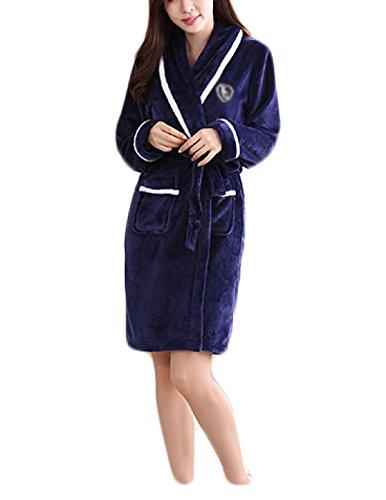 Donna Primavera New Couple Robe Accappatoio In Flanella 100% Cotone 2017 Coreano Semplice A Maniche Lunghe Blu Pigiama Bianco Blue