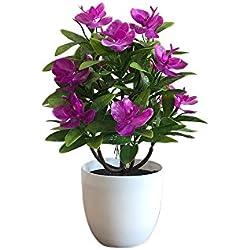 Godagoda Kunstblumen im Topf Deko Orchidee Kunststoff Künstliche Blumen Möbel Hause Büro oder Draussen Violett Gelb Rot Orange oder Rosa