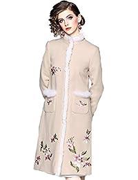 WTUG® Estilo Chino Lujo Bordado a Mano Abrigo de Lana Moda Noble Otoño Invierno Mujer