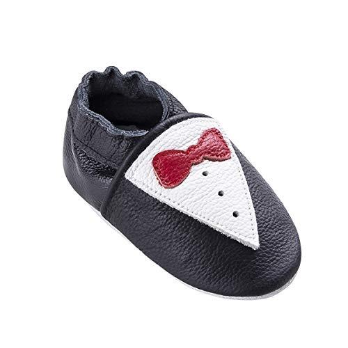 Weiche Leder Babyschuhe mit Mokassins Wildledersohlen für Kleinkinder Kleinkinder Jungen Mädchen Prewalker Schuhe (0-6 Monate, Bowtie-Rot)