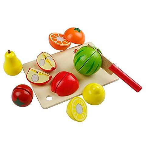 Schneidebretter | Set mit Früchten | Schneideobst aus Holz | DIY Küche Vorgeben Spiel für Kinder 3 Jahre Alt und Oben