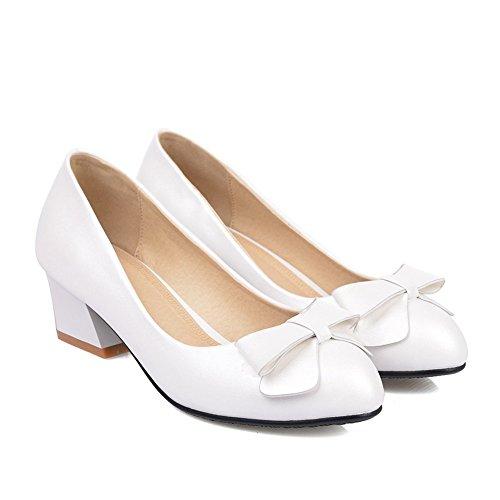 Adee nœuds pour femme à talons Pompes Chaussures en microfibre Blanc - blanc