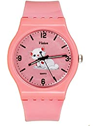 Vizion Analog Pink Big Dial (SNOWBELL-The Fluffy Kitty ) Cartoon Character Watch for Kids-8822-5-2