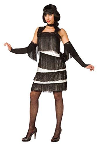 harleston Kleid Charleston Kostüm Charleston Kleid 20er Jahre weiß schwarz Damen-Kostüm Größe 40/42 ()