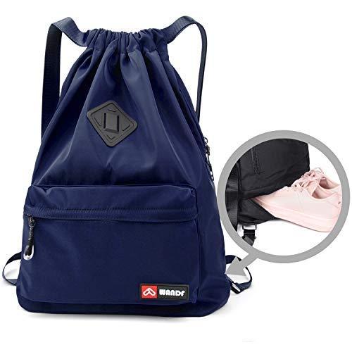 WANDF wasserdichte Rucksack mit Teleskopischem Schulterriemen, für Einkauf und Sport Yoga (Dunkelblau Upgrade)