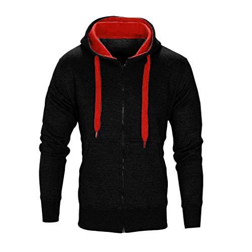 Xmiral Herren Mantel Jacke Mit Kapuze Reißverschluss Langarm Solide Sport Sweatshirt(EU 44,Schwarz)