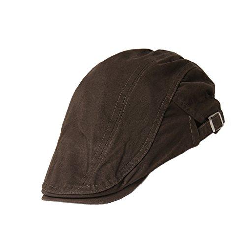 Unisex Erwachsene Schiebermütze Flache Kappe Schirmmütze Flatcap Gatsby Wollmütze Golfermütze - Braun, one size (Große Kappe)
