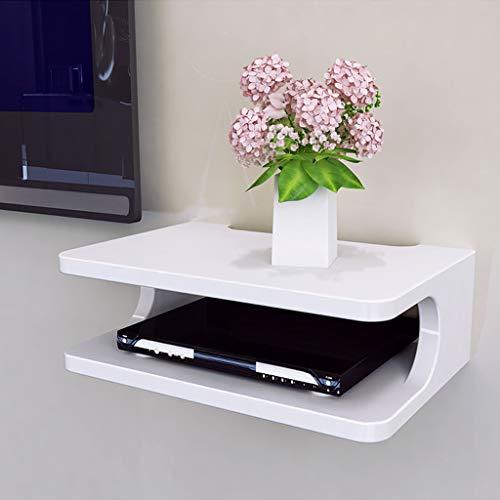YANQ Floating Shelf für TV-Komponenten, Metallwandmontierte Medienkonsole, 2-stufig, für Kabelboxen/Router/Fernbedienungen/DVD-Player/Spielekonsolen (Farbe : Weiß) (Wand Dvd Player Regal)
