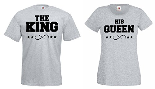 "TRVPPY Partner Herren + Damen T-Shirts ""THE KING + HIS QUEEN"" in versch. Farben Grau"