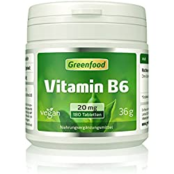 Vitamin B6, 20 mg, hochdosiert, 180 Tabletten – für mehr Schwung. Wichtig für Blutbildung und Immunsystem. OHNE künstliche Zusätze. Ohne Gentechnik. Vegan.