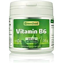 """Vitamin B6, 20 mg, hochdosiert, 180 Tabletten, vegan – das """"Jugend-Vitamin"""", beugt Alterungsprozessen vor. OHNE künstliche Zusätze. Ohne Gentechnik."""