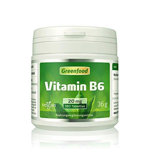 Vitamin B6, 20 mg, hochdosiert, 180 Tabletten - für mehr Energie. Wichtig für Blutbildung und Immunsystem. OHNE künstliche Zusätze. Ohne Gentechnik. Vegan.