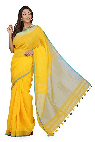 The Weave Traveller Handloom Hand Woven Linen Zari Saree With Attached Blouse