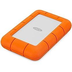 """LaCie 4 TB Rugged Mini USB 3.0 Portable 2.5"""" , Disque dur externe pour PC et Mac, Résistant aux chocs, chutes et à la pression (LAC9000633)"""