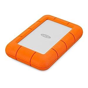 LaCie Rugged Mini 4TB USB 3.0 Portable 2.5 inch External Hard Drive for PC and Mac, orange white