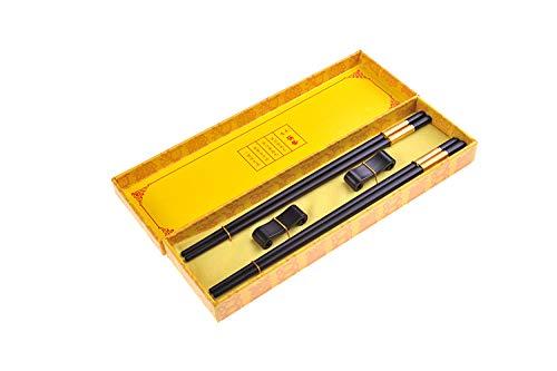 Quantum Abacus Black Metal Set de Baguettes de Luxe en Alliage métallique dans Coffret Cadeau - 2 Paires des Baguettes en métal Noir, 2 Supports en Bambou, SC-H-S2-ML-09