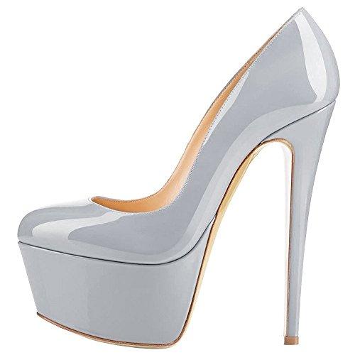 Cuckoo Damen High Heel Closed Round Toe Patent Plattform Stiletto Party Schuhe Grau