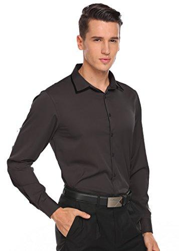 Coofandy Hemd Herren Langarm Slim Fit Business Leicht Bügeln Männer Shirt Dunkelgrau