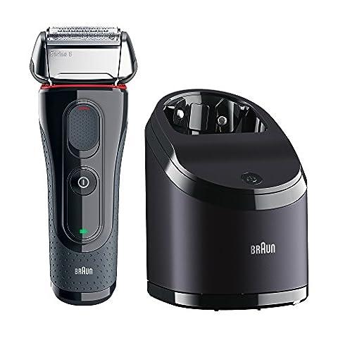 Braun Series 5 Elektrischer Rasierer 5050cc, mit Reinigungsstation und 2 Reinigungskartuschen, grau/silber