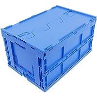 CAJA PLEGABLE CON TAPA 61L, caja plegable de plastico, caja de transporte, cesta de la compra, 60x40x33cm, azul