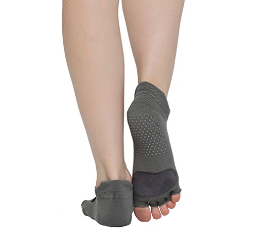 Macohome® Hochwertig Leder Yoga Pilates Socken Anti-Rutsch Damen Zehensocken Größe EU 35-40 (Grau, EU 35-40)