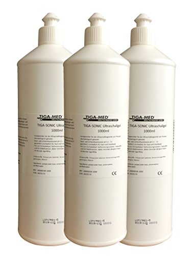 Ultraschallgel 1 Ltr. 3er Set (= 3 Flaschen) Kontaktgel Sono- Ultraschall- Gel 1000ml Leitgel Tens AB Gym Gleitgel Marke: Tiga-Med