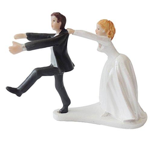 Bomcomi Bessere Linie Lustige Braut Chasing The Bräutigam-Kuchen-Deckel Hochzeitstorte Dekoration (Nur-kuchen-deckel Braut)