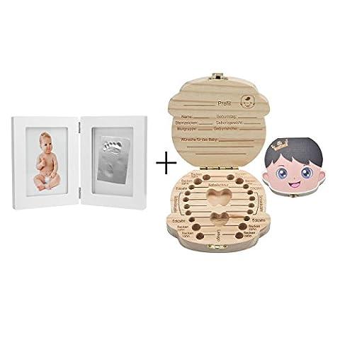 Mogoko [Deutsch Version] baby Kinder Original Holz Haar Milchzahndose Milchzähne Zähne box Kasten Souvenir Aufbewahrungsbox-Kundenspezifische Gravur (Zahndose(Prinz)+Bilderrahmen)