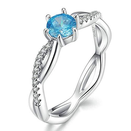 J.Memi\'s Damen Ring Sterling Silber Zirkonia Verwobenes Design Verlobungs Braut Hochzeit Schmuck Weihnachten, Blue,No.6