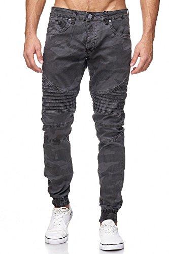 MEGASTYL Biker-Jeans Herren Hose Stretch-Denim Slim-Fit classic Camouflage Grau