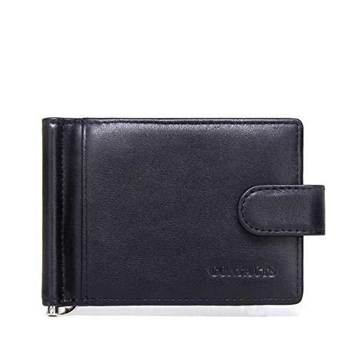 Asdflina Mens Slim Front Pocket Wallet ID Window Kartenetui Schmaler Kreditkarteninhaber aus echtem Leder Front Pocket Wallet Money Clip Geeignet für den täglichen Gebrauch (Farbe : Schwarz)