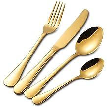 Buyer Star 4 piezas Juego de Cubiertos Utensilios Cuchillería Conjunto utensilio Oro Acero inoxidable Cuchara Cuchillo