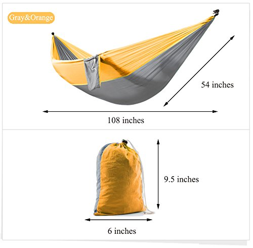 Zoophyter Double Camping Hammock, High Quality Nylon Fabric Parachute, Perfect for Park, Travel, Beach and Outdoor, With Free Hammock Rope & Steel Carabiners - Gray & Orange