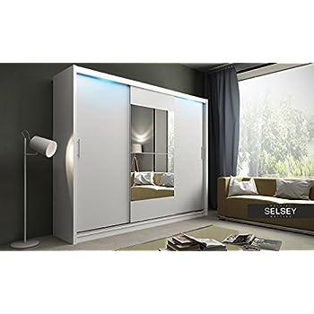 Kleiderschrank schiebetüren spiegel  Schwebetürenschrank, Kleiderschrank, ca. 200 cm, Weiss mit Spiegel ...